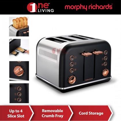 Morphy Richards Accents Rose Gold 4 Slice Toaster Black 242104