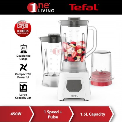 Tefal Plastic Jar 1.25L Blender Blendeo+ UNO 2 With Pulse Function + 2 Accessories BL2B41